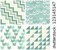 turquoise beige white chevron arrows triangles geometric seamless pattern scrapbook background set - stock vector