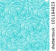 Turquoise linear flowers background - stock photo