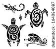 Turtle. Polynesian tattoo. Tribal pattern set. Vector illustration. - stock vector
