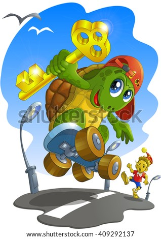 Turtle stole a golden key, and runs away from Pinocchio, Russia
