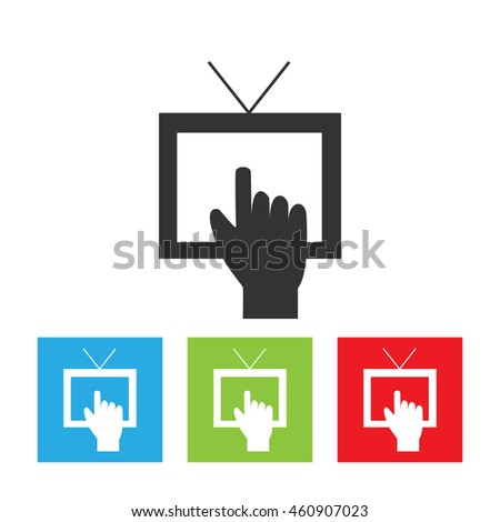 tv icon tv set logo picture stock vector 588153488