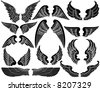 Twelve Sets of Angel Wings - stock vector