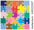 Twenty five piece jigsaw puzzle in different colors. These individual pieces can be moved and colored so suit your own artwork. - stock photo