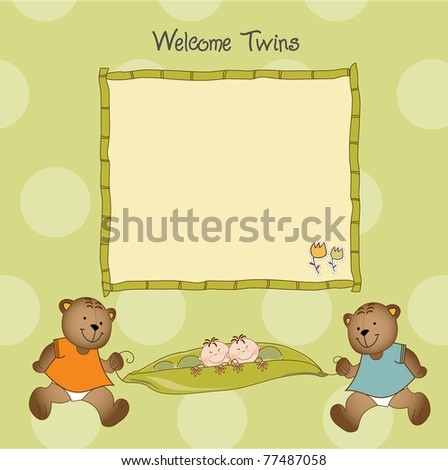 twins baby shower greeting card