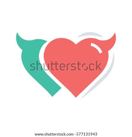 green color red red heart devil horn stock vector 571067848 shutterstock