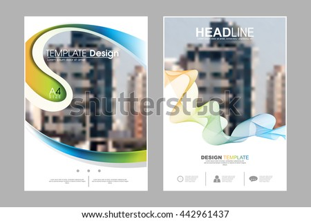 Two A4 size, abstract bent waving shape and strings elements marketing business corporate design template. eps10 vector