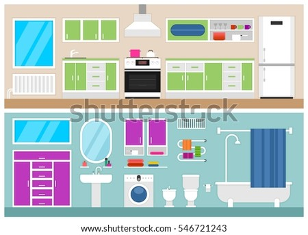 Furniture Long Shadows Icons Nursery Baby Stock Vector