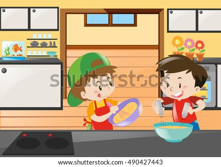 Restaurant Kitchen Illustration restaurant boys girls kids cartoon indoor stock vector 217871122