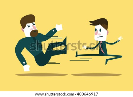 Two business people fighting. Small businessman win big guy. business metaphor.  flat character design. vector illustration