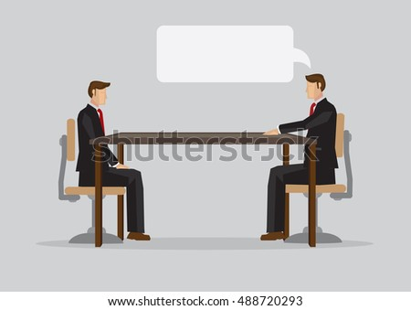 Two businessmen sitting opposite each other in formal sitting in one-to-one business meeting. Cartoon vector illustration on business meeting isolated on plain background.
