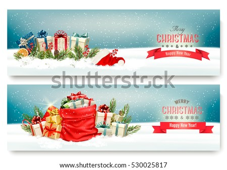 Two Christmas banners with presents and red sack. Vector.