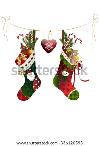 Two christmas stockings with presents