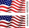 Two closeup colour variations of a waving national flag of the United States of America - Stars and Stripes - Old Glory in red, white mad blue with undulating fabric. Jpeg version is also available - stock photo