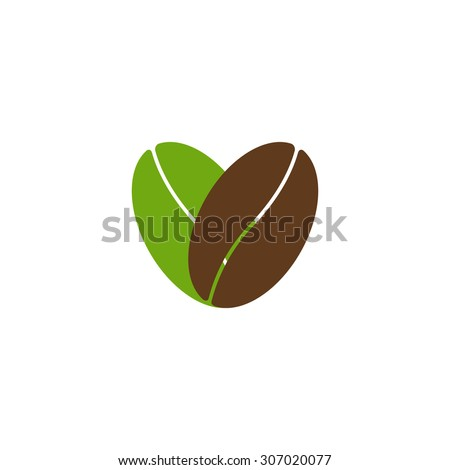Two coffee beans, one green colored and another brown colored situated in the shape of heart and isolated on white background. Logo template, design element, menu decoration. Flat style illustration