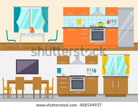 two colored horizontal banners set with kitchen furniture dining