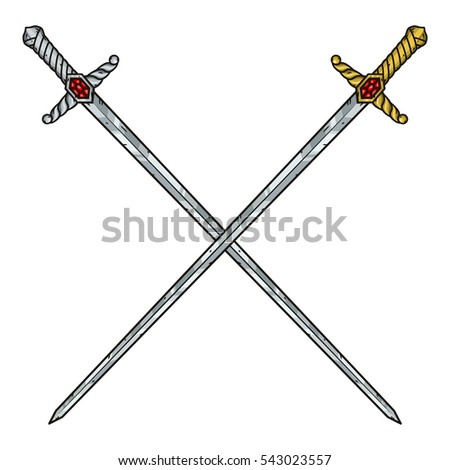 Two crossed cartoon swords