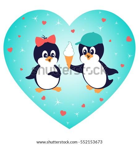 Cartoon penguins holding hands - photo#39