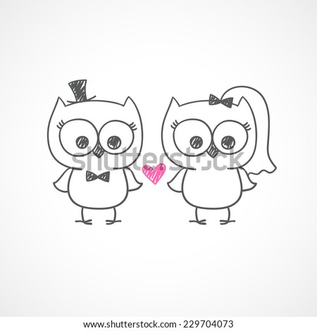 Two cute owls wedding invitation vector stock vector 229702375 two cute owls wedding invitation vector hand drawn illustration stopboris Choice Image