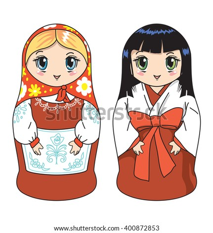 Two dolls in russian and japan clothes