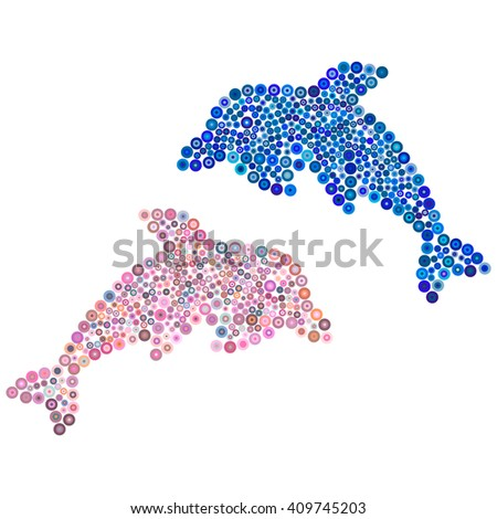 Two dolphins of blue and pink colorful circles. Vector illustration.