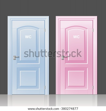 Two doors toilets pink and blue in the room interior vector & Doors Closed Open Flat Cartoon Style Stock Vector 687184549 ...