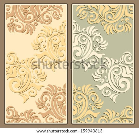Two floral decorative backgrounds in pastel colors in antique style