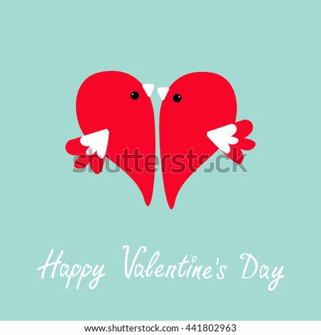 Two flying red birds in shape of half heart. Cute cartoon character. Love card Flat design style. Happy Valentines day. Vector illustration