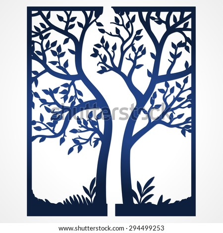 Two Fold Wedding Invitation Template With Tree. Suitable For Laser Cutting.  Lazercut Tree Card