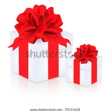 Two gifts with big red bow over white background