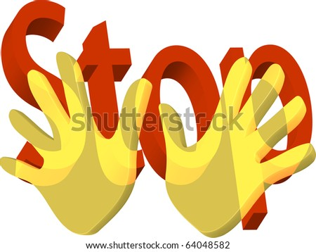 Two golden hands held up to stop with stop in words illustration vector
