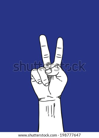 Two Hand sign : white on blue background