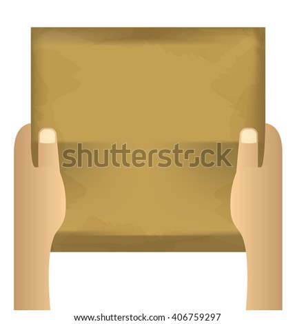 two hands holding empty paper on an isolated white background