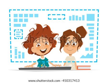 Two happy smile kids child sitting in front of the monitor Online education