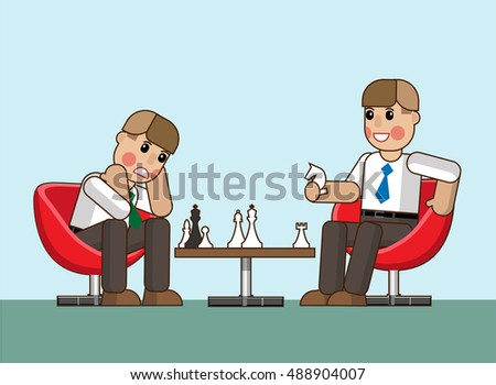 Two office workers playing chess. They are competitors. Hand drawn cartoon vector illustration for business design and infographic. Vector illustration Eps10 file.