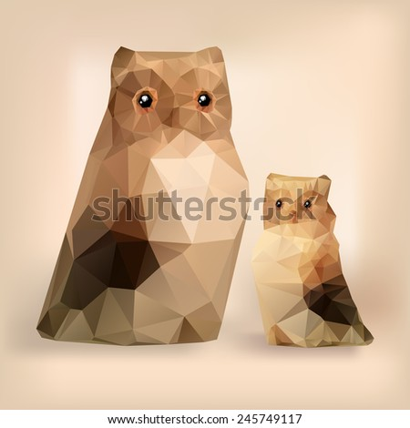 Two owls vector geometric polygonal