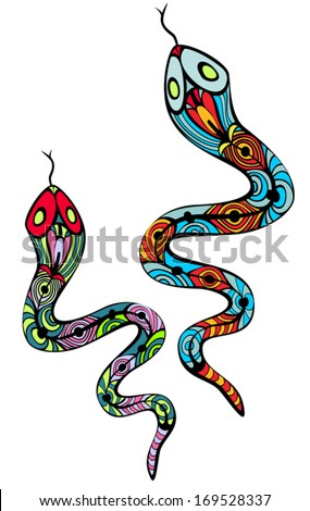 Two patterned colorful snakes, in two variant of colors, Art Nouveau style, like stained glass. Body is isolated on white. Vector elements are grouped.