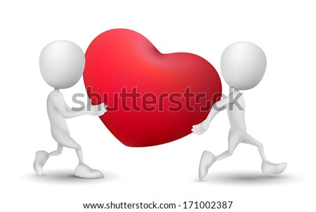 two people carried a red heart symbol