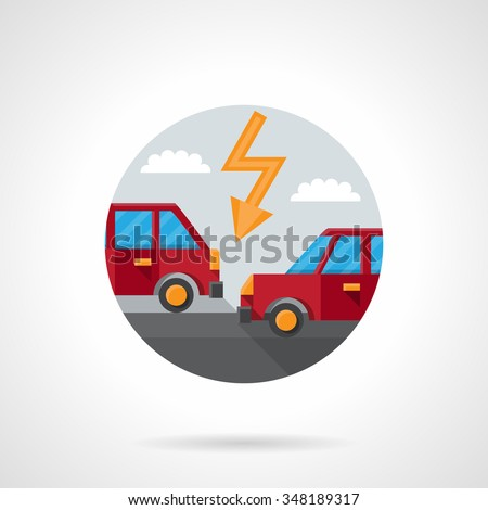 Two red automobiles on a road and lightning. Car crash. Auto insurance