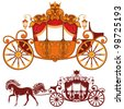 Two Royal carriage. Detailed image and silhouette. - stock photo