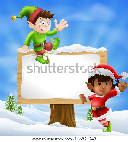 Two Santa's helper type Christmas characters with a large sign with copyspace