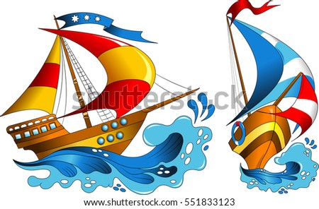 Two small pleasure yachts with colorful sails, vector