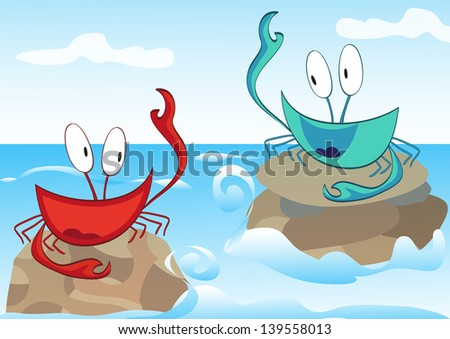 Two smiling crab greet each other in the sea