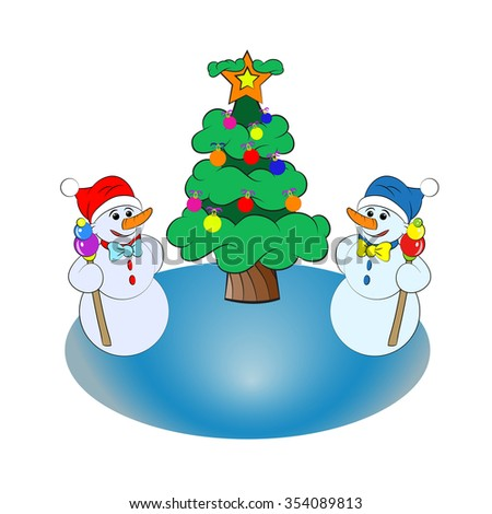 Two snowmen wearing red and blue hat near the Christmas tree on the ice