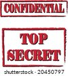 Two stamps. Confidential, Top secret - stock photo