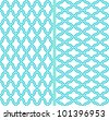 Two vector abstract lattice seamless patterns in turquoise background - stock photo
