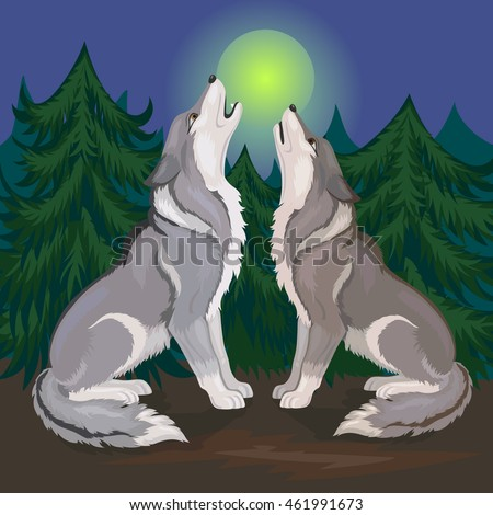 two wolves howling at the moon
