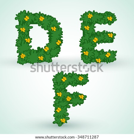 Typeset With Green Leaves And Flowers : Vector Illustration