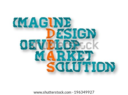 "Typographic Business Ideas crossword poster, ""Imagine, Design, Develop, Market, Solution"". Vector graphic design. Alternative background/graphic color combination included in hidden layer."