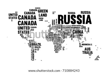 Technology bits world map shape vector vectores en stock 128031143 typography world map made of every country name in black and white concept text atlas gumiabroncs Gallery