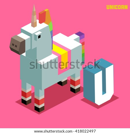 U for Unicorn, Animal Alphabet collection. vector illustration